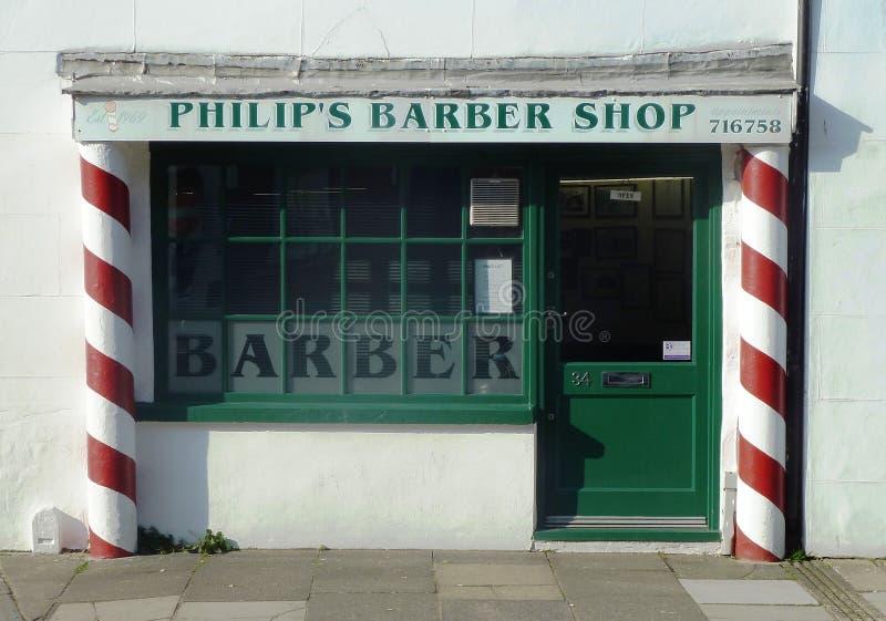 Gammalmodig Barber Shop fasad royaltyfri fotografi