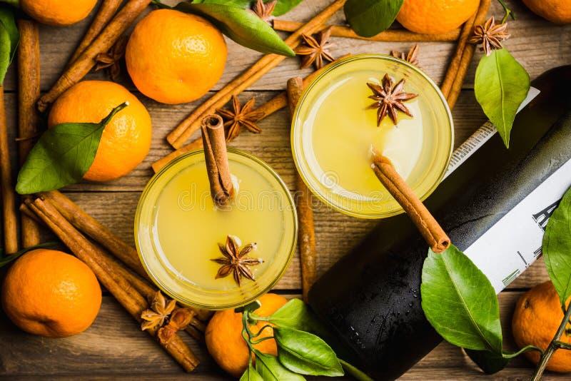 Gammalmodig citrus dryck med kryddor fotografering för bildbyråer