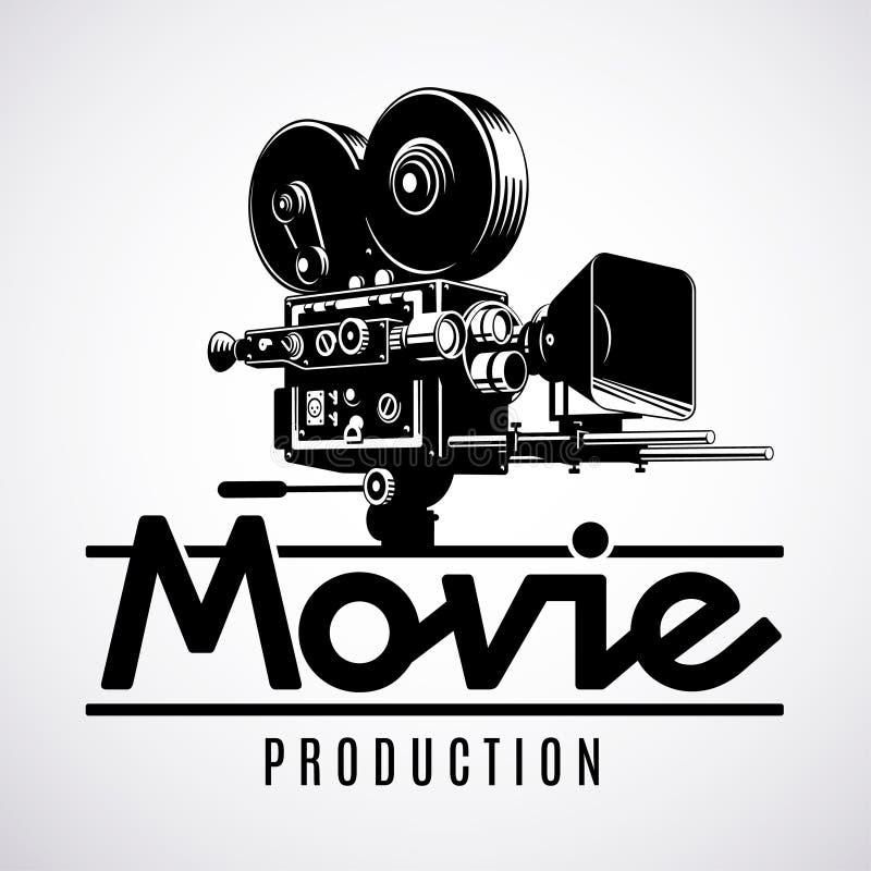 Gammalmodig kamera för filmfilm, logodesignmall, svartvit vektorillustration vektor illustrationer