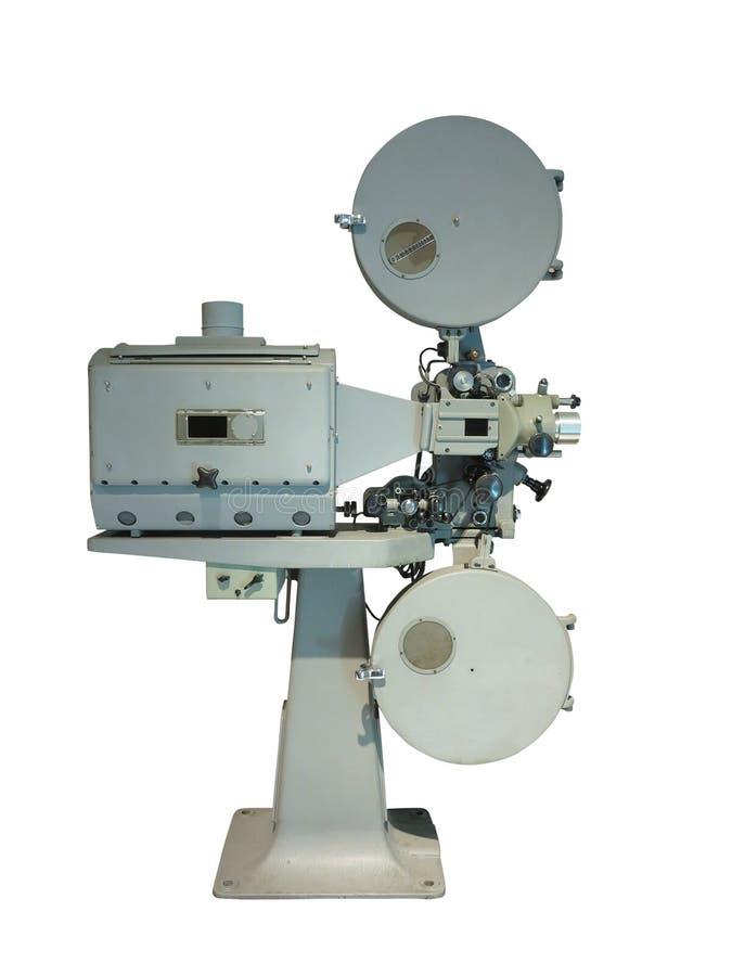 Gammalmodig projektor för film för biofilmtappning på wh royaltyfria foton