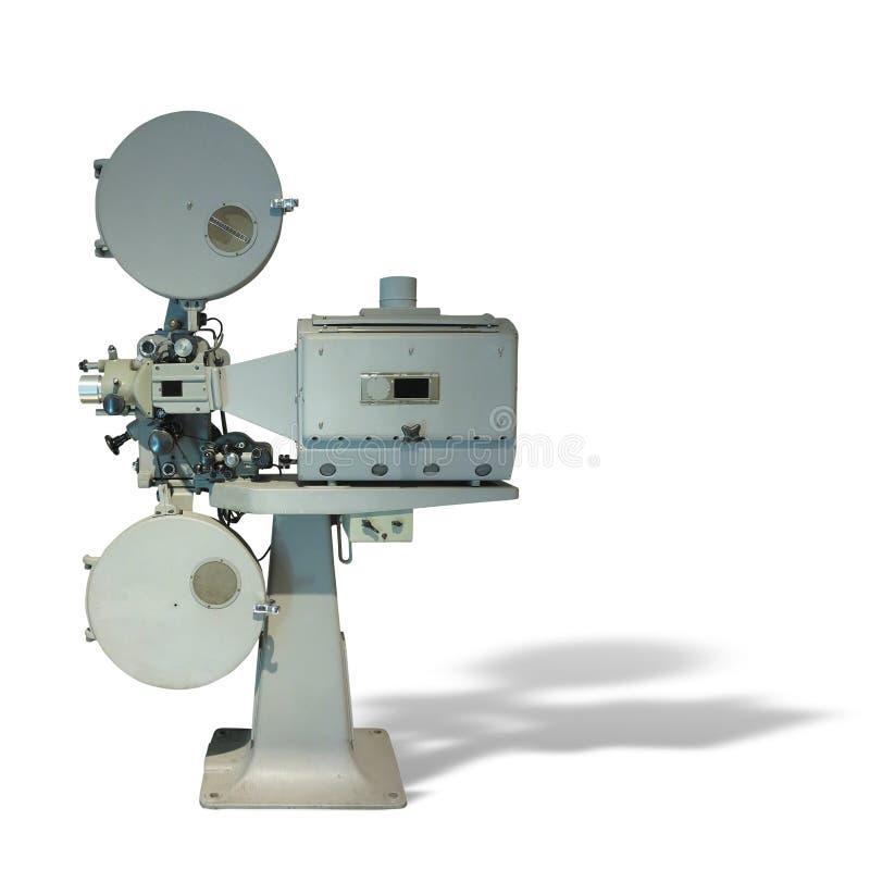 Gammalmodig projektor för film för biofilmtappning som isoleras på vit royaltyfria foton