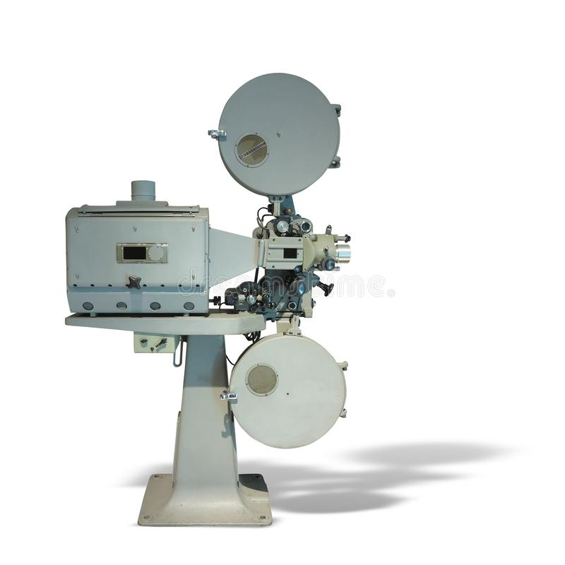 Gammalmodig projektor för film för biofilmtappning som isoleras på wh royaltyfria foton
