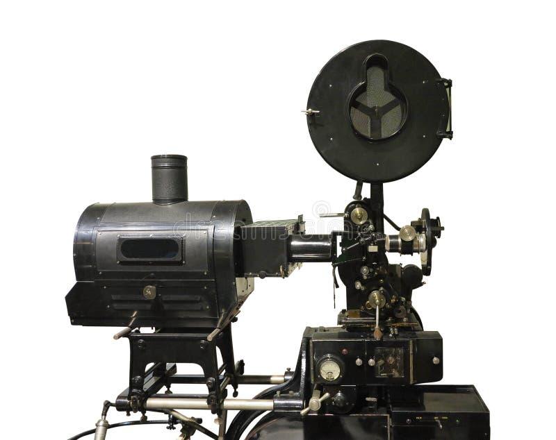 Gammalmodig projektor för film för biofilmtappning som isoleras på wh arkivbilder