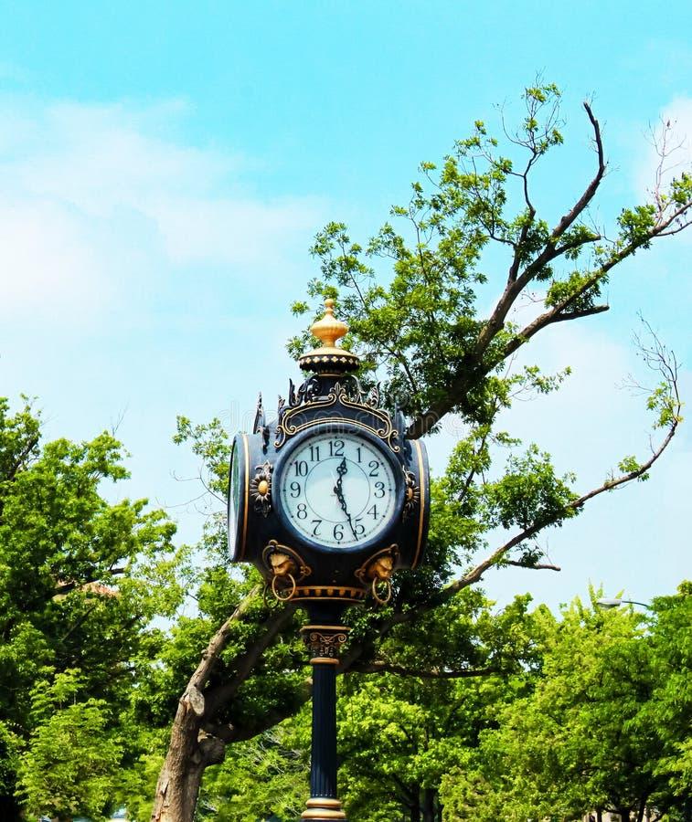 Gammalmodig tappninggataklocka mot greenlträd och blå himmel royaltyfria foton