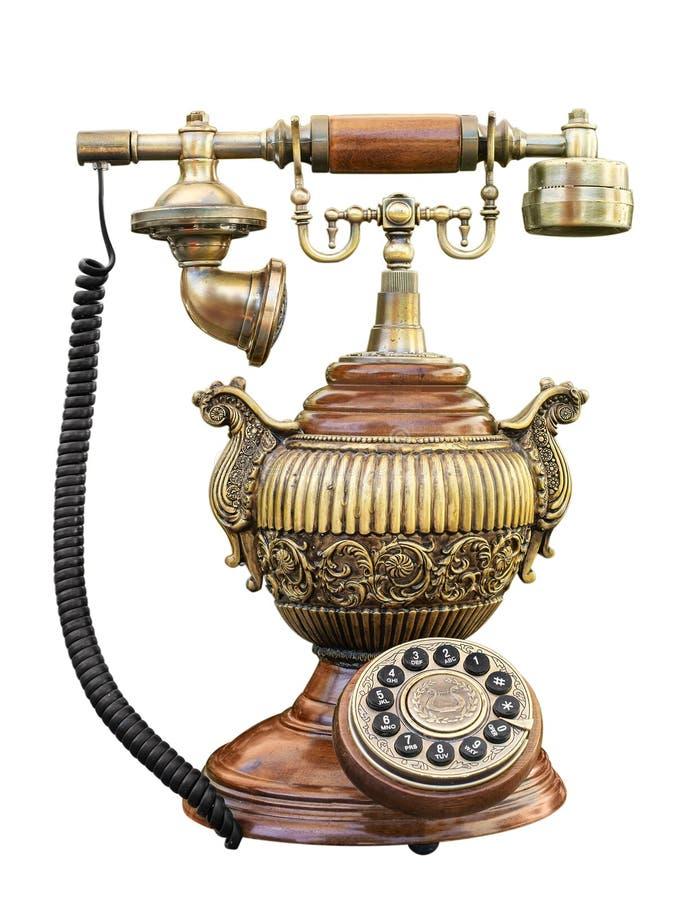 Gammalmodig tappningtelefon med tråd royaltyfri foto