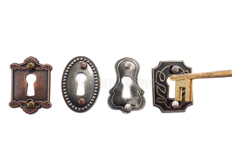 Gammalmodiga lås och tangent royaltyfria bilder