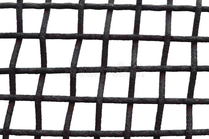 Gammalt åldrigt ridit ut Rusty Grid Cage Fence Iron galler, isolerad Grungy horisontalstor detaljerad makroCloseup, Grungerostmet arkivbilder