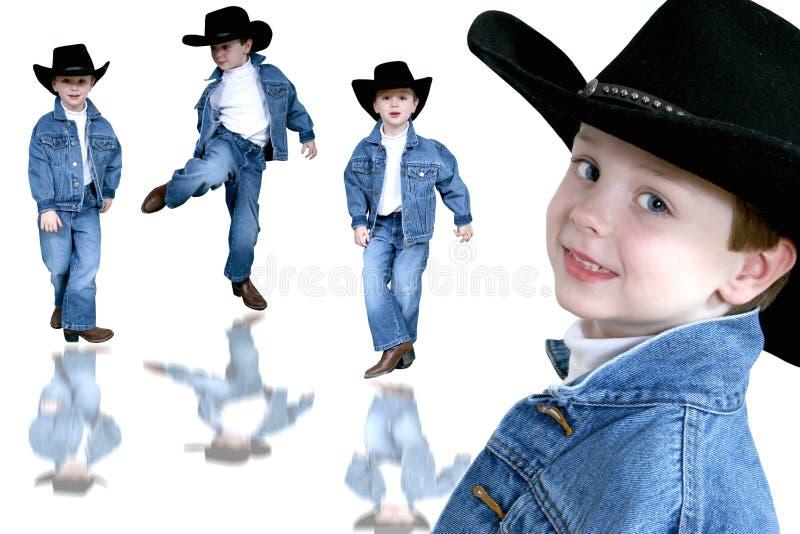 gammalt år för pojkecollagecowboy fyra royaltyfri bild