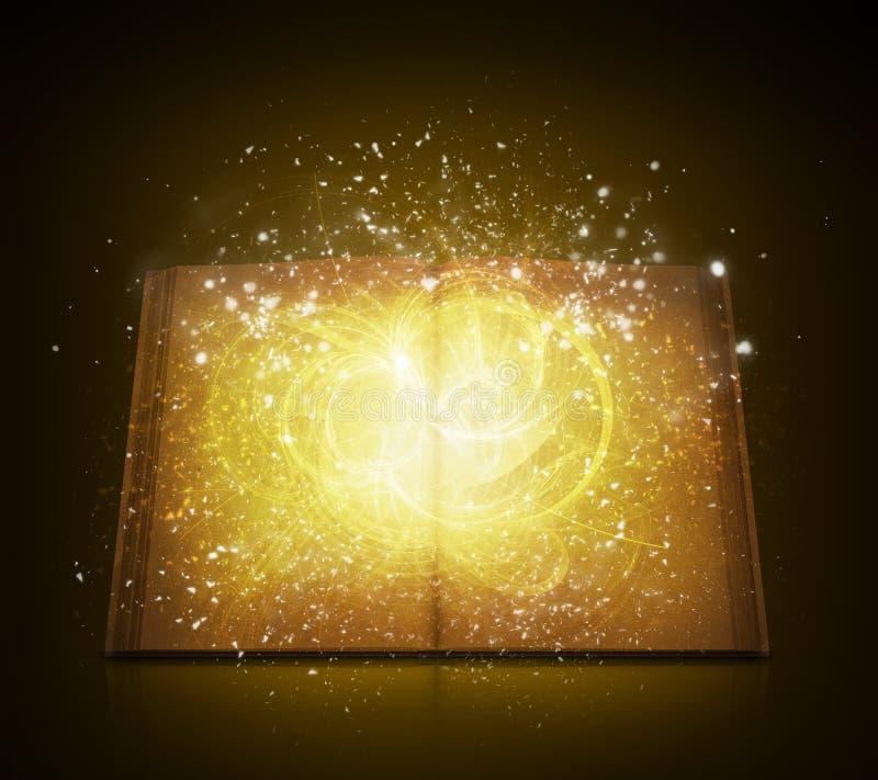 Gammalt öppna boken med magiska ljusa och fallande stjärnor royaltyfri illustrationer