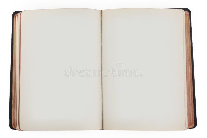 Gammalt öppna boken med tomma sidor royaltyfria bilder