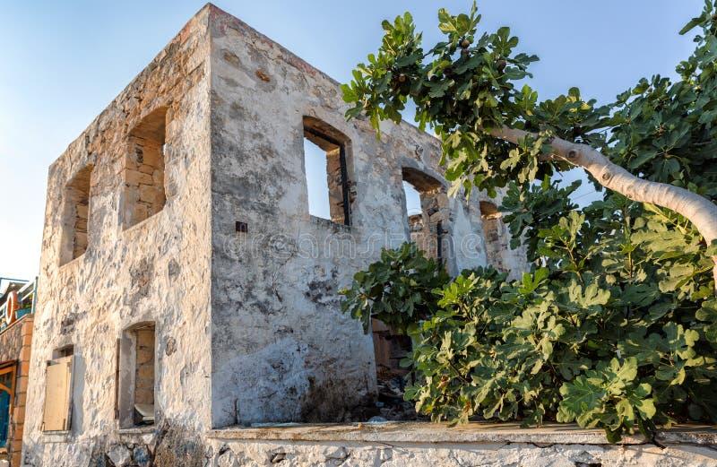 Gammalt övergett hus i byn av Perdika, Aegina ö royaltyfria bilder