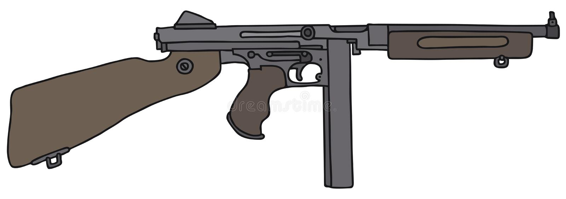 Gammalt amerikanskt automatiskt vapen stock illustrationer