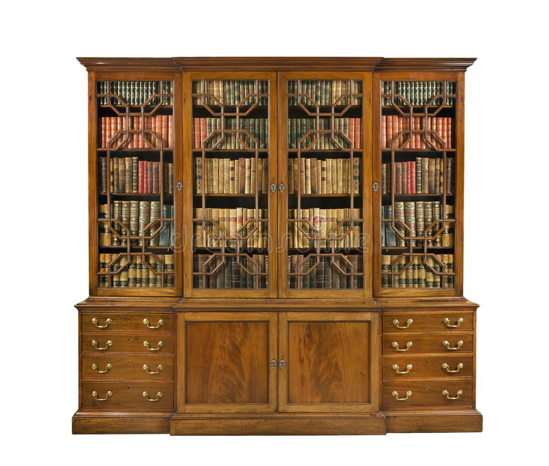 Gammalt antikt engelska för bokhylla med böcker arkivbild