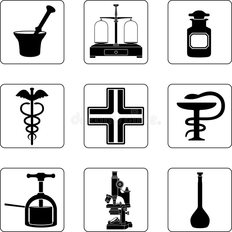 gammalt apotek stock illustrationer