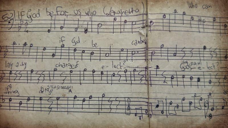 Gammalt ark av musik arkivbild