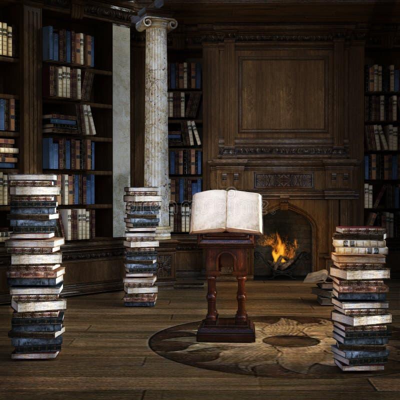 Gammalt arkiv med massor av böcker och brinnande spis stock illustrationer
