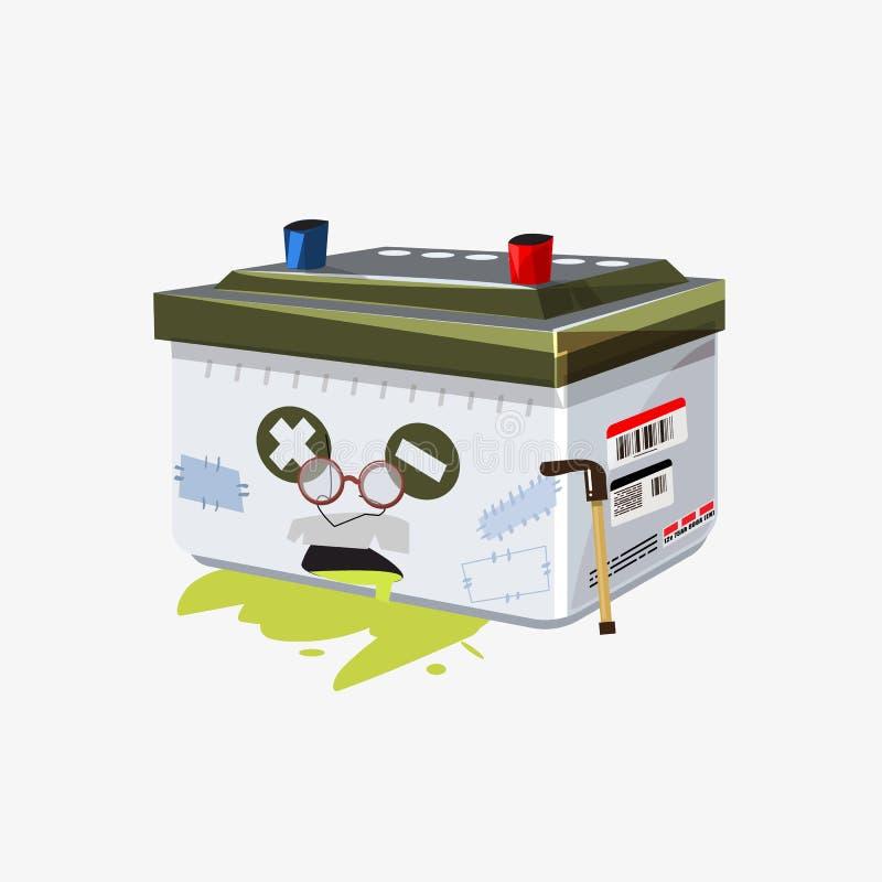 Gammalt batteritecknad filmtecken - vektorillustration stock illustrationer