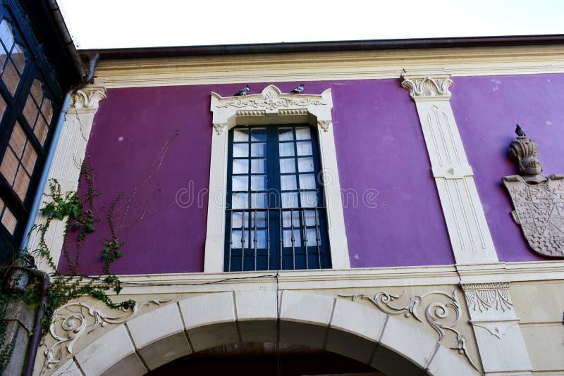 Gammalt blått träfönster i en violett vägg med den blåa järnledstången Vägg med murgrönan, bågen och vapenskölden Pontevedra gamm arkivfoto