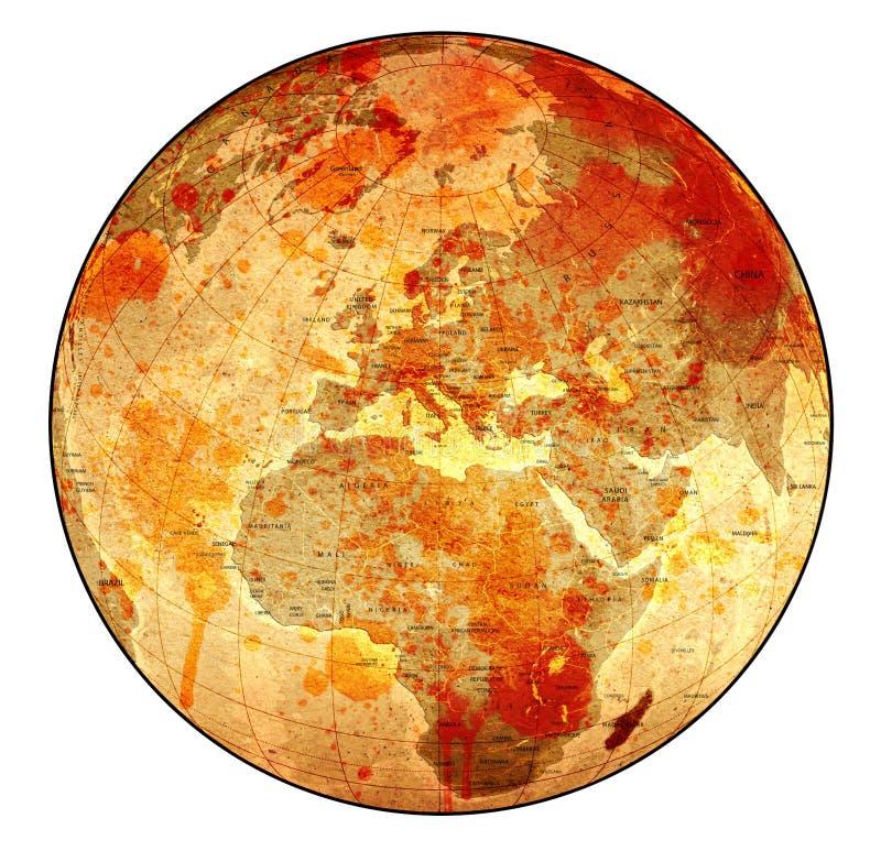 gammalt blodigt jordklot arkivbild