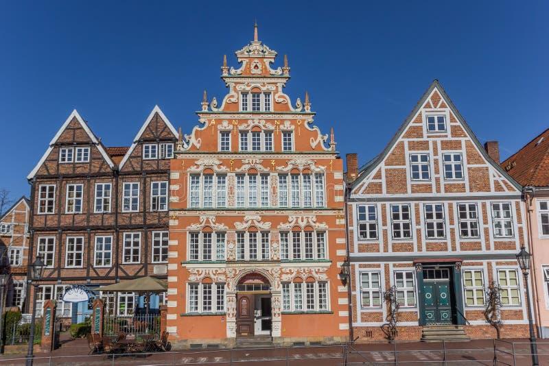 Gammalt borgmästarehus i den historiska hamnen av Stade fotografering för bildbyråer