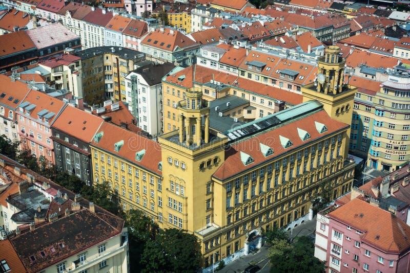 Gammalt centralt kontor Zizkov, Prague för telefon och för telegraf arkivfoton