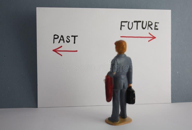 Gammalt eller nytt vägbeslutsbegrepp Miniatyrplan för vision för tid för forntid eller för framtid för affärsmanbaksidasikt arkivbilder