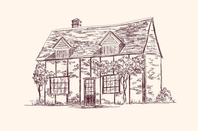 Gammalt engelskt hus stock illustrationer