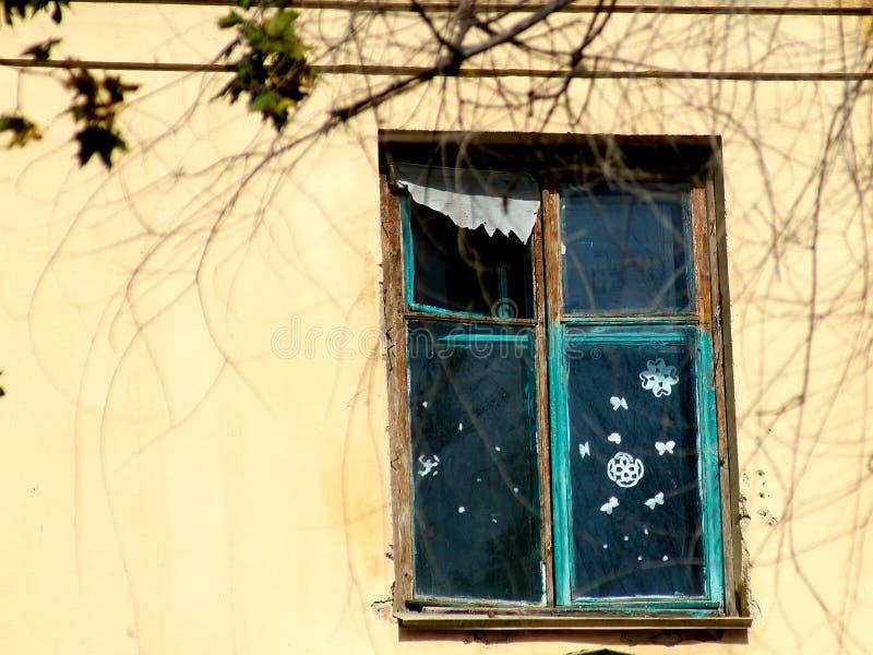 Gammalt fönster med snöflingor, sommar, royaltyfria bilder