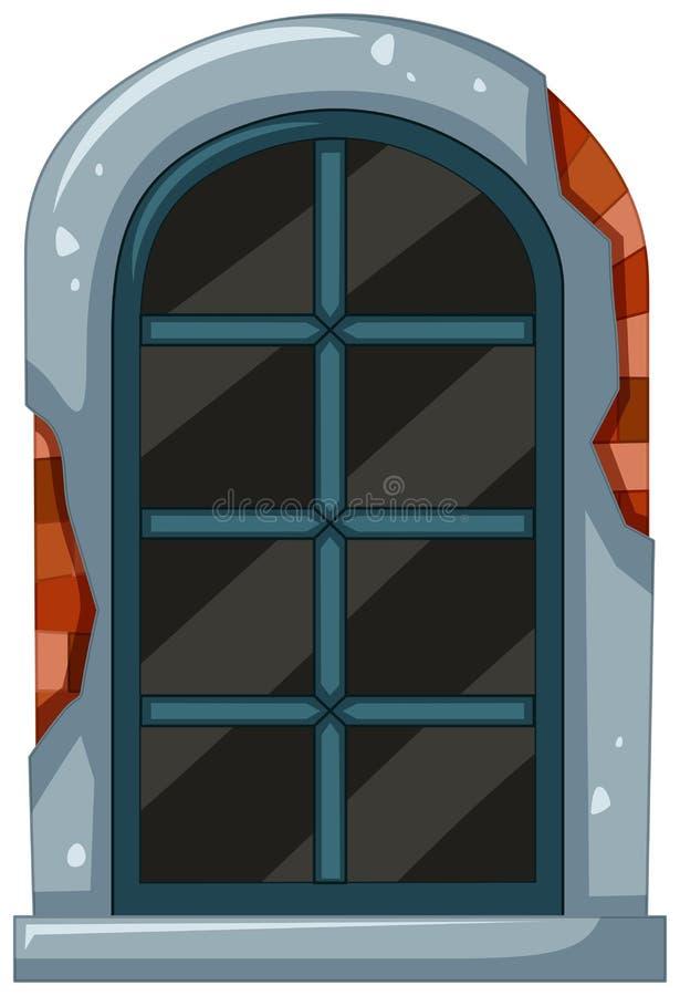 Gammalt fönster med tegelstenramen vektor illustrationer