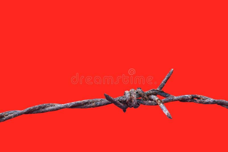 Gammalt för taggtrådrost som isoleras på röd bakgrund, rostig betydelse för taggtråd för att spärra in, att fängsla, internerings fotografering för bildbyråer