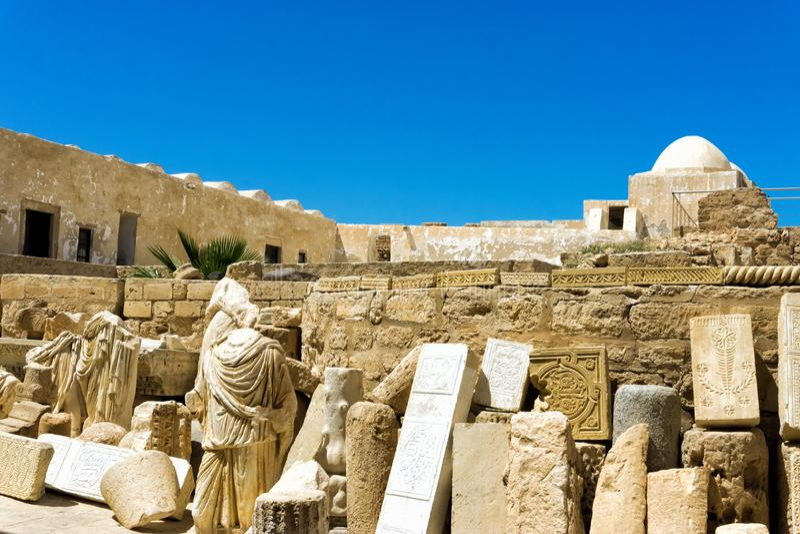 Gammalt f?rd?rvar i den Borj el Kebir slotten i Houmt El Souk, Tunisien arkivbild