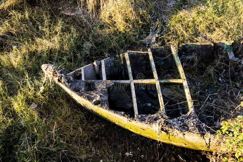 Gammalt fartyg på floden Minho, Porrino, Spanien royaltyfri foto
