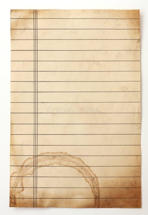 Gammalt fodrat papper arkivfoton