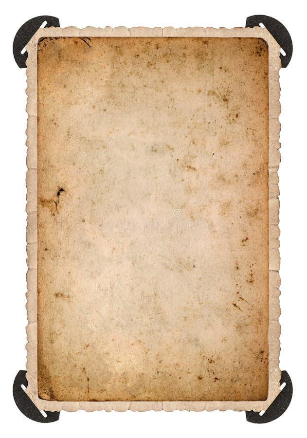 Gammalt fotokort med hörnet för ramhålet för bakgrund mönstrde härlig svart kpugloe fotoet åldrigt papper royaltyfri fotografi