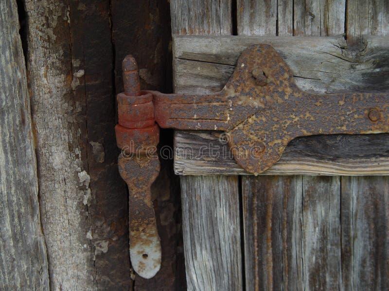 Gammalt gångjärn på trä royaltyfri fotografi