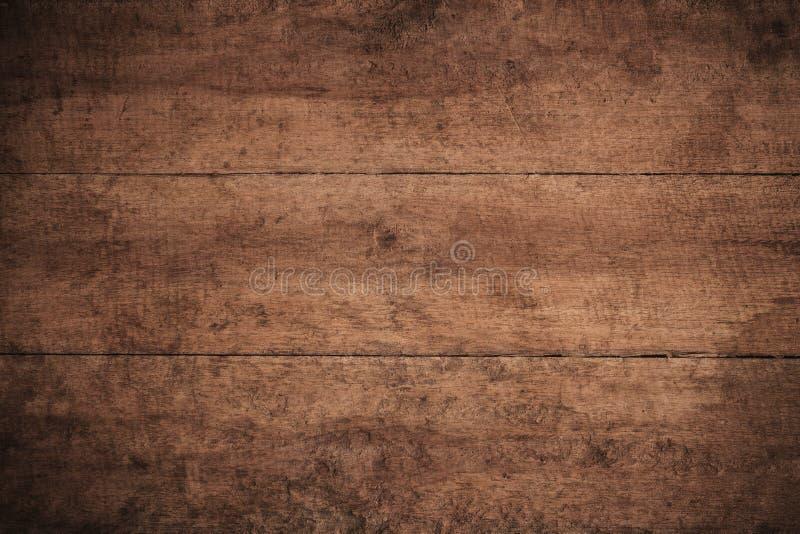 Gammalt grungemörker texturerade träbakgrund, yttersidan av den gamla bruna wood texturen, för bruntträ för bästa sikt panel royaltyfria foton