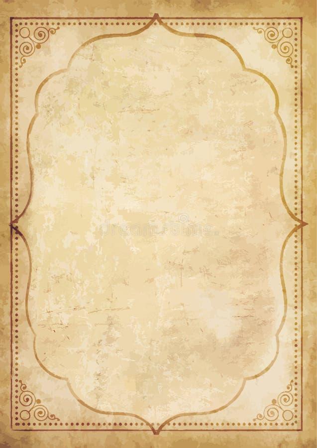 Gammalt grungy tappningpappersmellanrum med lockiga orientaliska ramornamen royaltyfri illustrationer