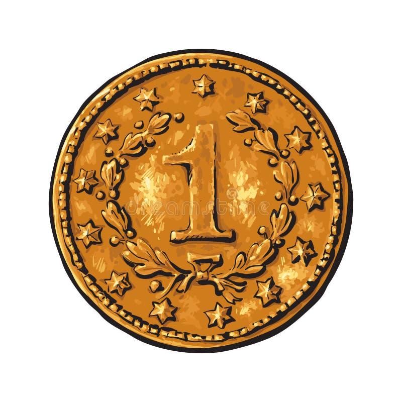 Gammalt guld- mynt stock illustrationer