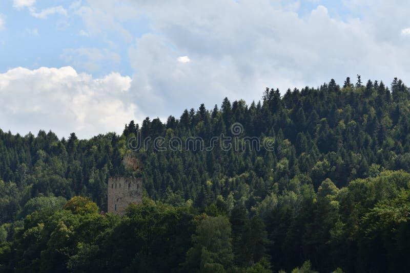 Gammalt historiskt torn Czchow Polen arkivfoton
