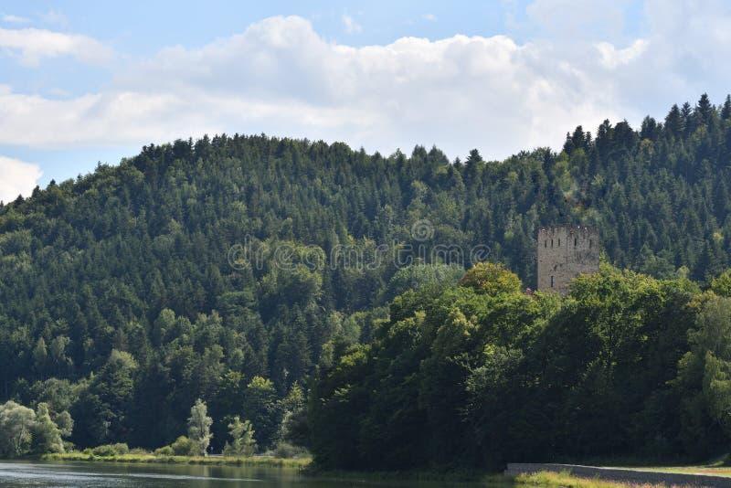 Gammalt historiskt torn Czchow Polen royaltyfria foton
