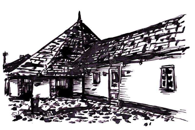 gammalt hus vektor illustrationer