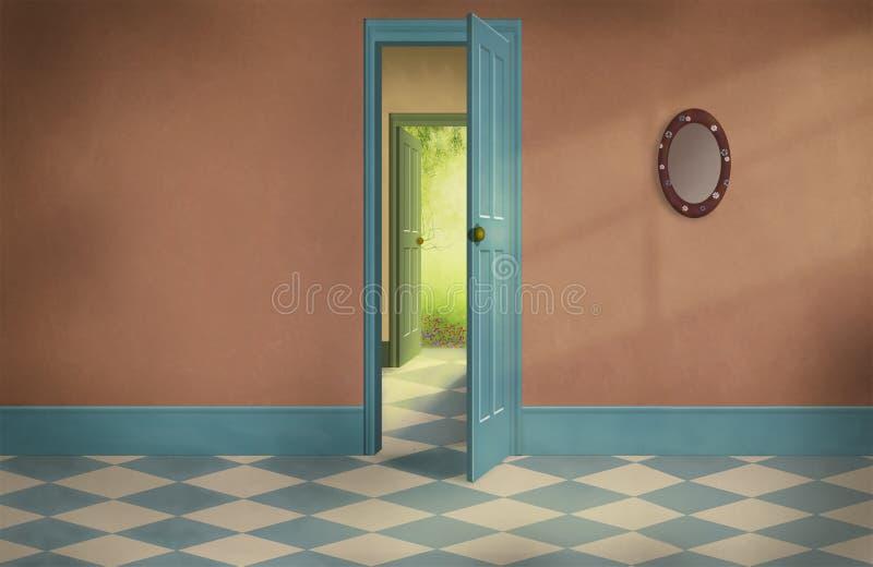 Gammalt hus för fantasi med tomma rum vektor illustrationer