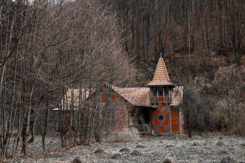 Gammalt hus i skogen arkivbild