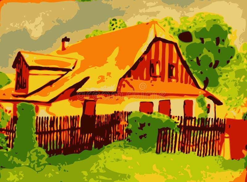 Gammalt hus i trädgård arkivfoton