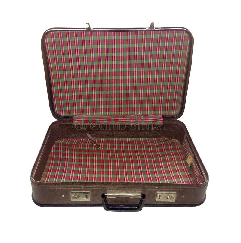 Gammalt isolerat öppet för resväska Tappningfall retro handväska royaltyfri fotografi