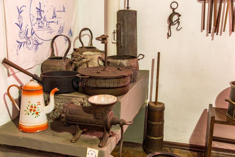 gammalt kök För koloniinvånare museum famlily fotografering för bildbyråer