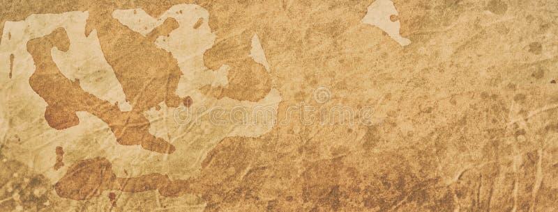 Gammalt kaffe eller te befläckte den pappers- bakgrundsillustrationen med textur och grunge, tappning eller forntida pergament royaltyfri fotografi