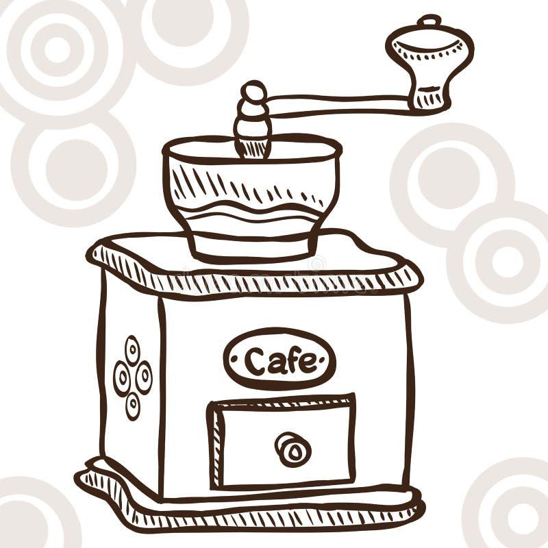 Gammalt kaffe mal vektor illustrationer