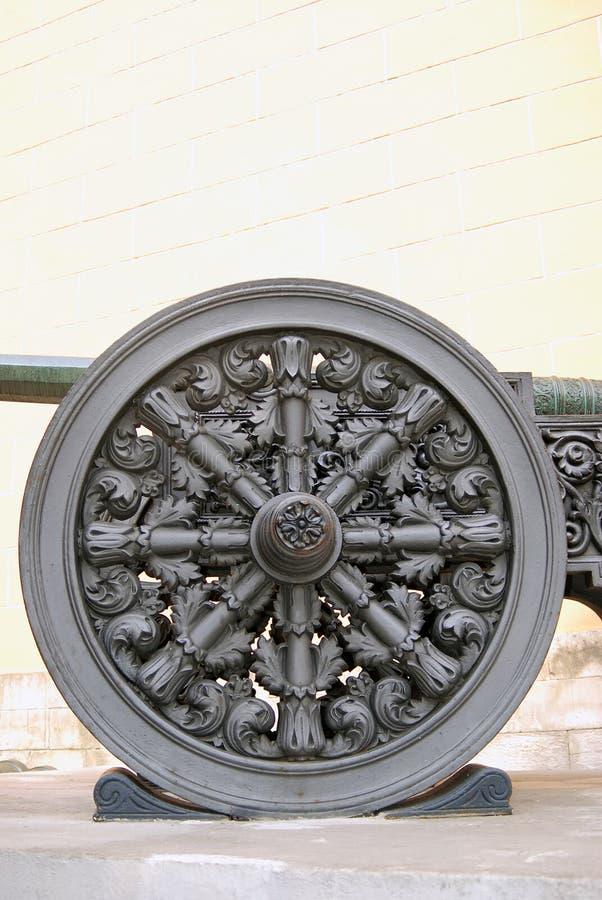 Gammalt kanonhjul kremlin moscow Lokal för Unesco-världsarv royaltyfri foto