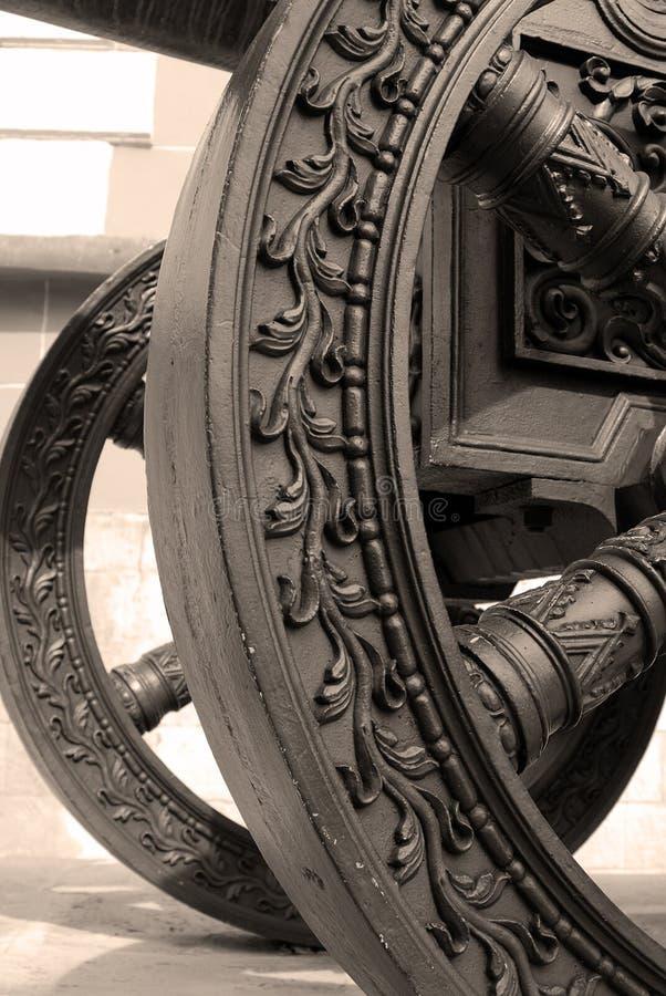 Gammalt kanonhjul kremlin moscow Lokal för Unesco-världsarv royaltyfria foton